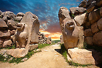 Photo of the Hittite releif sculpture on the Lion gate to the Hittite capital Hattusa 6