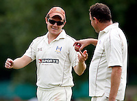 Craig Gourlay (L) and Tony Duckett of Highgate discuss tactics during the Middlesex County League Division Three game between Highgate and Bessborough at Park Road, Crouch End on Sat Sept 4, 2010