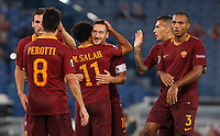 Calcio, Europa League: Roma vs Astra Giurgiu. Roma, stadio Olimpico, 29 settembre 2016.<br /> Roma&rsquo;s Mohamed Salah, third from left, celebrates with teammates after scoring during the Europa League Group E soccer match between Roma and Astra Giurgiu at Rome's Olympic stadium, 29 September 2016. Roma won 4-0.<br /> UPDATE IMAGES PRESS/Riccardo De Luca