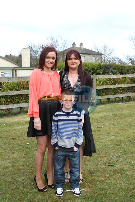Natasha, Tracey and Nathan Roche celebrate Natasha's Confirmation in Laytown Church...Photo NEWSFILE/Jenny Matthews.