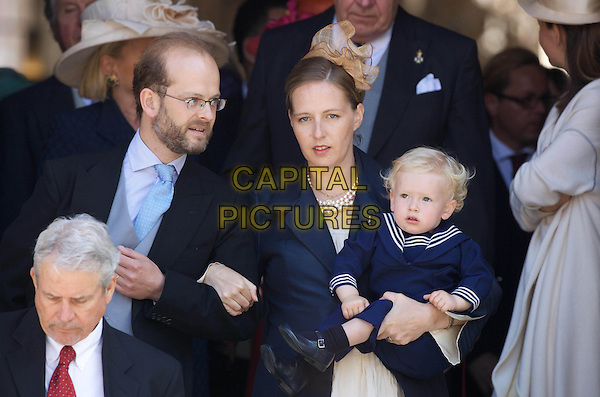 LORD NICHOLAS CHARLES EDWARD JONATHAN WINDSOR (son of Prince Edward, the Duke of Kent), PAOLA DOIMI DI DELUPIS & LORD ALBERT WINDSOR (son).Wedding of Hereditary Prince Hubertus of Sax -Coburg and Gotha and Kelly Rondestvedt in Coburg, Germany..May 23rd, 2009.marriage royal half length blue jacket arms linked married husband wife beard facial hair glasses .CAP/PPG/JH.©Jens Hartmann/People Picture/Capital Pictures