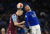 Leicester City's Jamie Vardy (right) competing with Aston Villa's Bjorn Engels <br /> <br /> Photographer Andrew Kearns/CameraSport<br /> <br /> The Premier League - Leicester City v Aston Villa - Monday 9th March 2020 - King Power Stadium - Leicester<br /> <br /> World Copyright © 2020 CameraSport. All rights reserved. 43 Linden Ave. Countesthorpe. Leicester. England. LE8 5PG - Tel: +44 (0) 116 277 4147 - admin@camerasport.com - www.camerasport.com