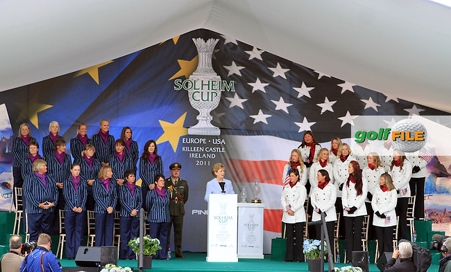 The European and the USA Teams with President Mary McAleese at the Opening Ceremony for the 2011 Solheim Cup at Killeen Castle, Co. Meath, Ireland...Photo Golffile/Jenny Matthews.(Photo credit should read Jenny Matthews www.golffile.ie)....This Picture has been sent you under the conditions enclosed by:.Newsfile Ltd..The Studio,.Millmount Abbey,.Drogheda,.Co Meath..Ireland..Tel: +353(0)41-9871240.Fax: +353(0)41-9871260.GSM: +353(0)86-2500958.email: pictures@newsfile.ie.www.newsfile.ie.