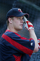 Justin Morneau of the Minnesota Twins during batting practice before a 2007 MLB season game against the Los Angeles Angels at Angel Stadium in Anaheim, California. (Larry Goren/Four Seam Images)