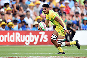 January 27th, Hamilton, New Zealand;  Australia's Jeral Skelton in action during the Day 2 of the HSBC World Rugby Sevens Series 2019, FMG Stadium Waikato,Hamilton, Sunday 27th January 2019.