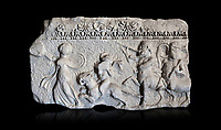 Roman relief sculpture of the Dionysus Festival. Roman 2nd century AD, Hierapolis Theatre.. Hierapolis Archaeology Museum, Turkey . Against an black background