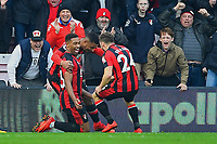 Jordon Ibe of AFC Bournemouth celebrates scoring the second and winning goal with Ryan Fraser of AFC Bournemouth during AFC Bournemouth vs Arsenal, Premier League Football at the Vitality Stadium on 14th January 2018