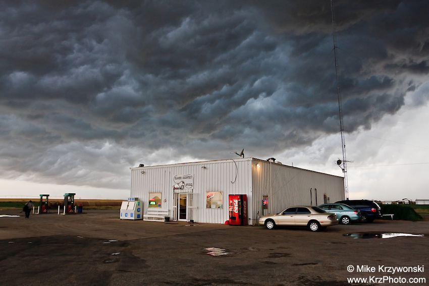 A Severe Thunderstorm Hovers Over a Convenience Store in Olustee, OK,  May 27, 2008