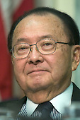 United States Senator Daniel K. Inouye (Democrat of Hawaii) listens to testimony from United States Secretary of Commerce-designate Carlos Gutierrez on his nomination to replace Don Evans before the United States Senate Committee on Commerce, Science, and Transportation in Washington, D.C. on January 5, 2004.  Senator Inouye is the third most senior member of the United States Senate.  He was a member of the United States Senate Watergate Committee in 1973 and was Chairman of the United States Senate Iran-Contra Committee in 1987.  He is currently the ranking member of the United States Senate Committee on Commerce, Science, and Transportation..Credit: Ron Sachs / CNP