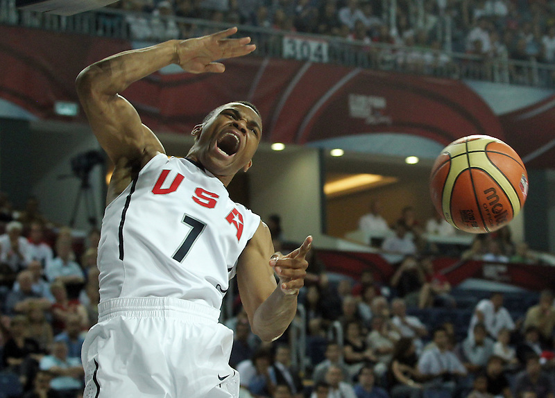 USA team vs Russia at basketball world championships Istanbul. Russell Westbrook dunks the ball