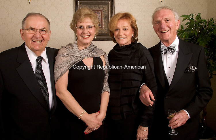 SOUTHINGTON, CT- 05 FEBRUARY 2005-020505JS05--Saint Mary's Hospital Health System board member Bob Lenkowski of Middlebury, left, and his wife Antoinette Lenkowski, actress Cynthia Harris of New York City and Attorney Nathan Silverstein of Branford at the Saint Mary's Hospital Foundation's 14th annual gala Saturday at the Aqua Turf in Southington. The theme for this year's event was 'Young at Heart' with procedes to benefit Saint Mary's advanced cardiac care program.  -- Jim Shannon Photo--Aqua Turf; Giraldi; Naugatuck; Saint Mary's Hospital; Bob Lenkowski; Cynthia Harris; Nathan Silverstein; Antoinette Lenkowski