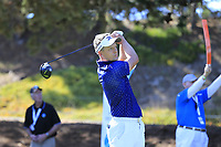 Luke Donald (ENG) tees a provisional off the 1st tee during Thursday's Round 1 of the 2018 AT&amp;T Pebble Beach Pro-Am, held over 3 courses Pebble Beach, Spyglass Hill and Monterey, California, USA. 8th February 2018.<br /> Picture: Eoin Clarke | Golffile<br /> <br /> <br /> All photos usage must carry mandatory copyright credit (&copy; Golffile | Eoin Clarke)