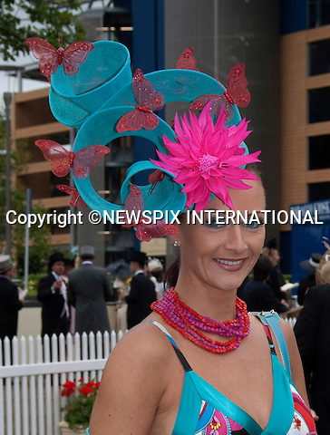 """HAT FASHIONS AT ROYAL ASCOT.Royal Ascot Day 2, Ascot_15/11/2011.Mandatory Photo Credit: ©Shaw/NEWSPIX INTERNATIONAL..**ALL FEES PAYABLE TO: """"NEWSPIX INTERNATIONAL""""**..PHOTO CREDIT MANDATORY!!: Newspix International(Failure to credit will incur a surcharge of 100% of reproduction fees)..IMMEDIATE CONFIRMATION OF USAGE REQUIRED:.Newspix International, .31 Chinnery Hill, Bishop's Stortford, ENGLAND CM23 3PS..Tel:+441279 324672  ; Fax: +441279656877..Mobile:  0777568 1153..e-mail: info@newspixinternational.co.uk"""