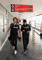 Wednesday 07 August 2013<br /> Pictured L-R: Jose Canas and Alejandro Pozuelo about to board their aeroplane at Cardiff Airport.<br /> Re: Swansea City FC travelling to Sweden for their Europa League 3rd Qualifying Round, Second Leg game against Malmo.
