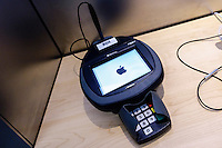 Paramus, NJ. 20 October 2014. a data phone is seen on a Apple store in New Jersey. Apple reported fourth-quarter revenues of $42.1 billion in the quarter . Photo by Kena Betancur/VIEWpress