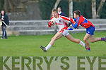 Seamus O Murcheartaigh (Pobalscoil Chorca,Dhuibhne) in Action with Brendan Cronin in the College under 16 1/2 Brun Cup on Wednesday at Austin Stack Park, Connolly Park, Tralee.