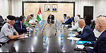 Palestinian Prime Minister Mohammad Ishtayeh, meets with leaders of the security services, in the West Bank city of Ramallah, on July 7, 2020. Photo by Prime Minister Office