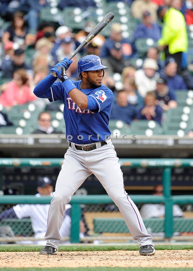ELVIS ANDRUS, of the Texas Rangers, in action during the Rangers game against the Detroit Tigers on April 11, 2011 at Comerica Park in Detroit, Michigan.  The Rangers beat the Tigers 2-0.