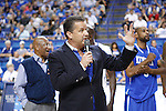 Head Coach John Calipari speaks at the Alumni Charity Basketball Game at Rupp Arena in Lexington, Ky., on Saturday, September 15, 2012. Photo by Tessa Lighty | Staff