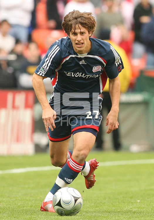 Wells Thompson moves into the attack for New England. The Houston Dynamo defeated the New England Revolution 2-1 in the finals of the MLS Cup at RFK Memorial Stadium in Washington, D. C., on November 18, 2007.