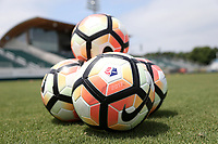 Cary, North Carolina  - Sunday May 21, 2017: NWSL Nike soccer balls prior to a regular season National Women's Soccer League (NWSL) match between the North Carolina Courage and the Chicago Red Stars at Sahlen's Stadium at WakeMed Soccer Park. Chicago won the game 3-1.