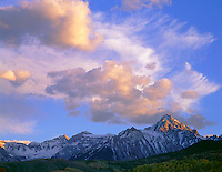 Uncompahgre National Forest, CO<br /> Mount Sneffels and the San Juan Range under evening clouds