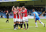 Sheffield United's Billy Sharp celebrates scoring his sides second goal during the League One match at the Priestfield Stadium, Gillingham. Picture date: September 4th, 2016. Pic David Klein/Sportimage