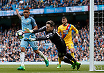 Wayne Hennessey of Crystal Palace saves at the feet of Gabriel Jesus of Manchester City  during the English Premier League match at the Etihad Stadium, Manchester. Picture date: May 6th 2017. Pic credit should read: Simon Bellis/Sportimage