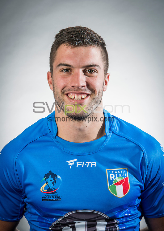 Picture by Allan McKenzie/SWPix.com - 18/10/2013 - RLWC2013 - 2013 Rugby League World Cup - Burleigh Court, Loughborough, England - Headshots - Italy's James Tedesco.