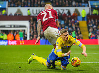 Leeds United's Ezgjan&nbsp;Alioski is tackled by Aston Villa's Alan Hutton<br /> <br /> Photographer Alex Dodd/CameraSport<br /> <br /> The EFL Sky Bet Championship - Aston Villa v Leeds United - Sunday 23rd December 2018 - Villa Park - Birmingham<br /> <br /> World Copyright &copy; 2018 CameraSport. All rights reserved. 43 Linden Ave. Countesthorpe. Leicester. England. LE8 5PG - Tel: +44 (0) 116 277 4147 - admin@camerasport.com - www.camerasport.com