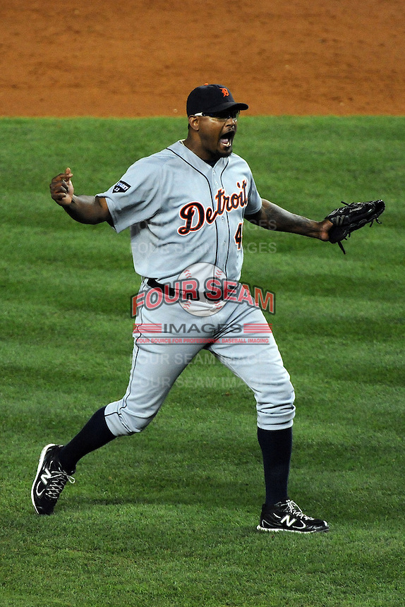 Detroit Tigers pitcher Jose Valverde #46 celebrates saving the ALDS game #5 against the New York Yankees at Yankee Stadium on October 06, 2011 in Bronx, NY.  Detroit defeated New York 3-2 to take the series 3 games to 2 games.  Tomasso DeRosa/Four Seam Images