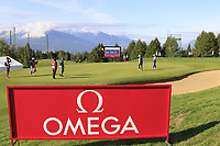 The 17th green during Thursday's Round 1 of the 2017 Omega European Masters held at Golf Club Crans-Sur-Sierre, Crans Montana, Switzerland. 7th September 2017.<br /> Picture: Eoin Clarke | Golffile<br /> <br /> <br /> All photos usage must carry mandatory copyright credit (&copy; Golffile | Eoin Clarke)