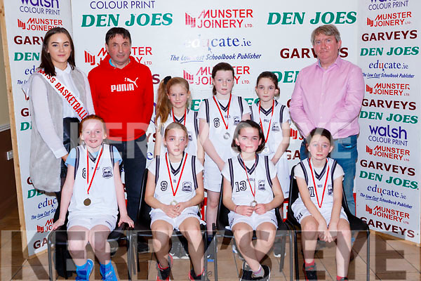 The Scoil Nuachabhail team that played in the Junior NS Girls final at the St Marys Basketball Blitz on Saturday front rw l-r:  Sarah O'rourke, Gill Quirke, Maura Conroy, Ashling Daly, Back row  Leanne Cahill-O'Connor Miss Basketballl, Jack Culloty, Marie Lucey, Katie Hobbert, Hazel Guerin and Michael Quirke coach