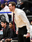 Belleville West coach Alex Schobert yells in to his team. Belleville West played Collinsville in the Class 4A Belleville East regional basketball championship game at Belleville East High School in Belleville, Illinois on Friday March 6, 2020. <br /> Tim Vizer/Special to STLhighschoolsports.com