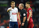 Harry Kane of Tottenham Hotspur argues with Referee Michael Dean during the premier league match at the Wembley Stadium, London. Picture date 16th September 2017. Picture credit should read: Robin Parker/Sportimage