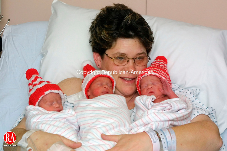 WATERBURY, CT 2/14/01--0214TK03.tif  (left to right:)At the Waterbury Hospital, Vickie Moussaid hold her triplets, son Yassin, daughter Nihale and son Amin, born on Valentines Day at Waterbury Hospital  --TOM KABELKA staff photo for A1 Mark Assara