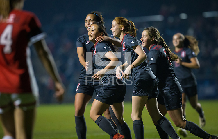 STANFORD, CA - November 9, 2018: Michelle Xiao, Beattie Goad, Jordan DiBiasi, Sam Hiatt at Laird Q. Cagan Stadium. The top seeded Stanford Cardinal defeated the Seattle Redhawks 3-0 in the opening round of the NCAA tournament.