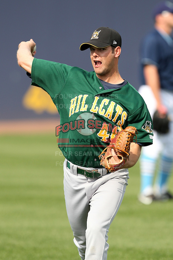 Lynchburg Hillcats pitcher Andrew Wilson #46 throws in the outfield before a game against the Wilmington Blue Rocks at Frawley Stadium on May 3, 2011 in Wilmington, Delaware.  Lynchburg defeated Wilmington by the score of 11-1.  Photo By Mike Janes/Four Seam Images