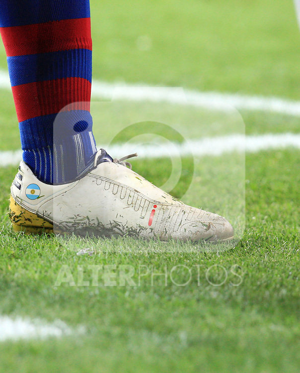 A detailed view of Lionel Messi's Adidas boot during the UEFA Champions League quarter final second leg match between Barcelona and Arsenal at Camp Nou on April 6, 2010 in Barcelona, Spain.