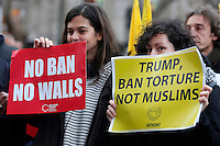 Cartelli 'no ban no walls'  and 'Trump ban torture not muslims' banners<br /> Roma 02-02-2017. Ambasciata Americana. Manifestazione per protestare contro il 'muslim ban' attuato dal neo Presidente americano.<br /> Rome February 2nd 2017. American Embassy. Demonstration against 'muslim ban' of the newly elected American President.<br /> Foto Samantha Zucchi Insidefoto