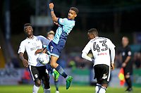 Paris Cowan-Hall of Wycombe Wanderers wins the header from Steven Sessegnon of Fulham during the Carabao Cup match between Wycombe Wanderers and Fulham at Adams Park, High Wycombe, England on 8 August 2017. Photo by Alan  Stanford / PRiME Media Images.