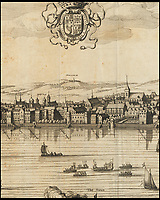 BNPS.co.uk (01202 558833)<br /> Pic: Christies/BNPS<br /> <br /> 'Horowe on the Hill' is shown some distance from the 17th century city, as a Royal barge flotilla row to the west on the river.<br /> <br /> A remarkable 393 year old panorama of London which reveals how the city looked before the great fire destroyed large parts of it has sold at auction for &pound;106,000.<br /> <br /> The 7ft panorama, taken from the South Bank, has the old St Paul's Cathedral and London Bridge, which were rebuilt following the blaze, as central features.<br /> <br /> Remarkably, its creator, the Dutch engraver and cartographer Claes Jansz Visscher, never visited London, so the panorama required some imagination - the Tower of London boasts onion-styled domes.<br /> <br /> It is one of only two known copies to exist, with the other one residing in the Folger Library in Washington DC, United States.