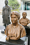 """The House of Sharing for Comfort Women, June 7, 2016 : A bust sculpture of the late comfort woman, Kim Hak-Soon (front,1924 - 1997) is seen in the House of Sharing in Gwangju, Gyeonggi province, about 30 km (18 miles) southeast of Seoul, June 7, 2016. The House of Sharing is a shelter for living South Korean """"comfort women"""", who said they were forced to become sexual slavery by Japanese military during the Second World War. It was founded in 1992 with funds organized by Buddhists and other civic groups. The Museum of Sexual Slavery by Japanese Military locates in the shelter. (Photo by Lee Jae-Won/AFLO) (SOUTH KOREA)"""