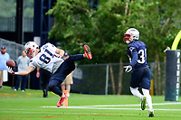 July 27, 2017: New England Patriots wide receiver Cody Hollister (81) tries to make a one handed catch at the New England Patriots training camp held on the practice field at Gillette Stadium, in Foxborough, Massachusetts. Eric Canha/CSM