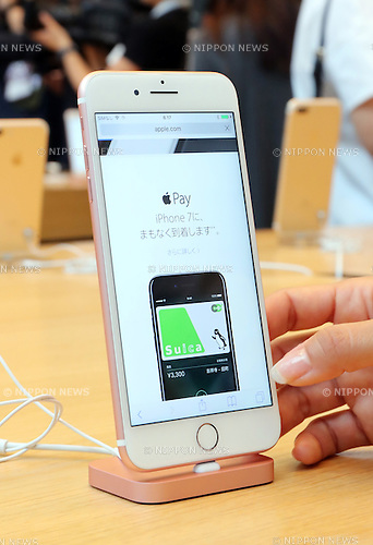 September 16, 2016, Tokyo, Japan ? Apple's new  iPhone 7 is displayed at an Apple store in Tokyo on Friday, September 16, 2016. Apple launched the new iPhone 7 and 7 Plus on Japanese market.   (Photo by Yoshio Tsunoda/AFLO) LWX -ytd-