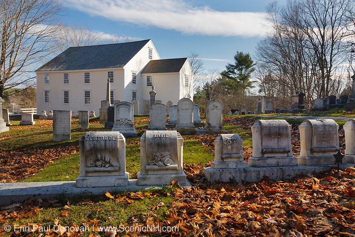 German Lutheran Meetinghouse during the autumn months. Located in Waldoboro, Maine USA.This church and cemetery is listed on the National Register of Historic Places and is one of the three oldest chruches in Maine.