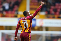 Dom Poleon of Bradford City celebrates scoring during the Sky Bet League 1 match between Bradford City and Gillingham at the Northern Commercial Stadium, Bradford, England on 24 March 2018. Photo by Thomas Gadd.
