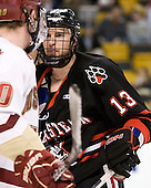 Randy Guzior (Northeastern - 13) - The Boston College Eagles defeated the Northeastern University Huskies 5-4 in their Hockey East Semi-Final on Friday, March 18, 2011, at TD Garden in Boston, Massachusetts.