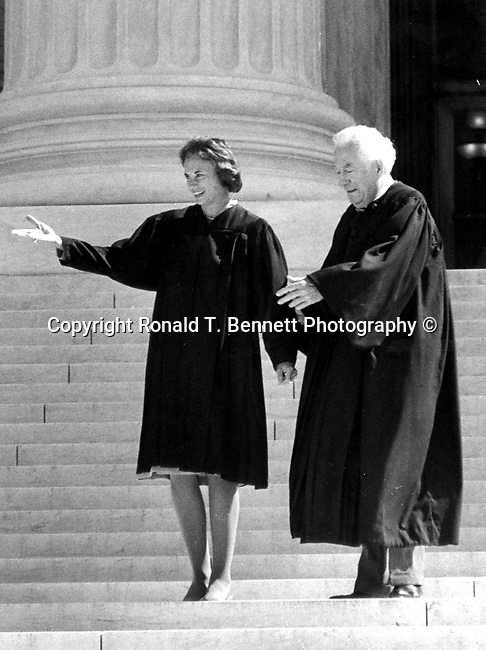 Supreme Court Justice Sandra Day O'Connor and Chief Justice Warren Burger on steps of Supreme Court Washington DC, Fine Art Photography by Ron Bennett, Fine Art, Fine Art photography, Art Photography, Copyright RonBennettPhotography.com ©