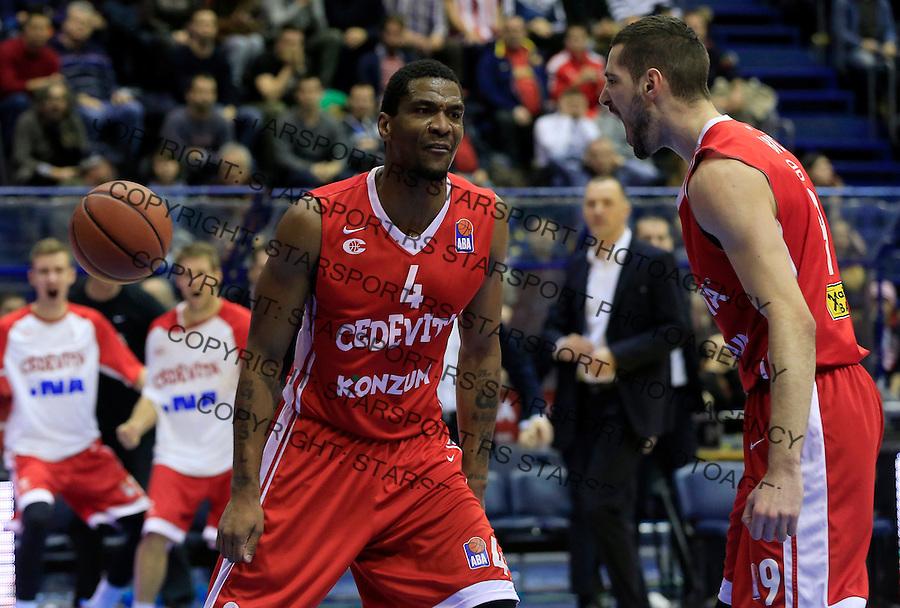 Kosarka ABA League season 2015-2016<br /> Crvena Zvezda v Cedevita<br /> James White (C) and Luka Babic (R)<br /> Beograd, 04.01.2015.<br /> foto: Srdjan Stevanovic/Starsportphoto&copy;